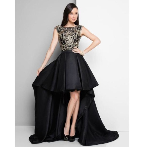 Terani Couture Dresses Black Gold High Low Gown Poshmark